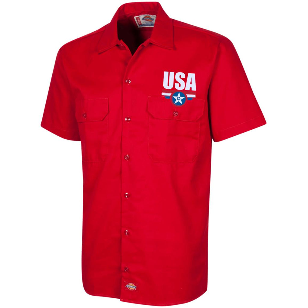 USA. Star-Shield. Red, White, Blue. Dickies Men's Short Sleeve Workshirt. (Embroidered)-4