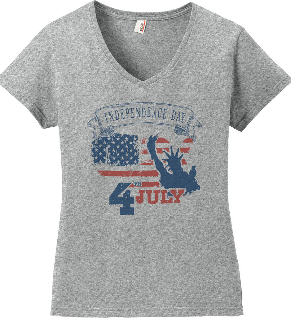 4th of July. Faded Grunge. Statue of Liberty. Women's: Anvil Ladies' V-Neck T-Shirt.-1
