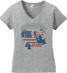 4th of July. Faded Grunge. Statue of Liberty. Women's: Anvil Ladies' V-Neck T-Shirt.