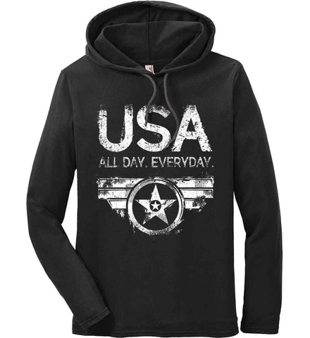 USA All Day Everyday. White Print. Anvil Long Sleeve T-Shirt Hoodie.