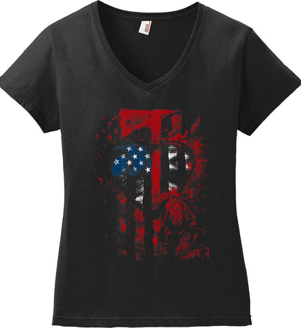 Firefighter Heart. Thin Red Line. Women's: Anvil Ladies' V-Neck T-Shirt.