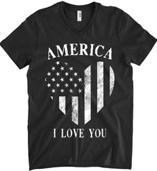 America I Love You White Print. Anvil Men's Printed V-Neck T-Shirt.