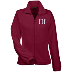 Three Percent Symbol. White. Women's: Harriton Women's Fleece Jacket. (Embroidered)