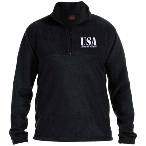 USA. American Patriot. Harriton 1/4 Zip Fleece Pullover. (Embroidered)