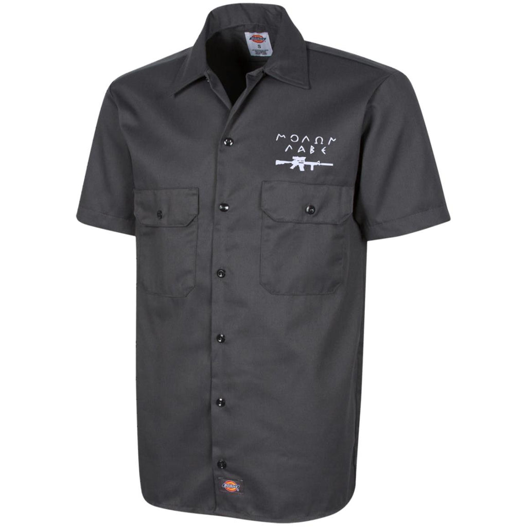 Molon Labe with Rifle. White. Dickies Men's Short Sleeve Workshirt. (Embroidered)-1