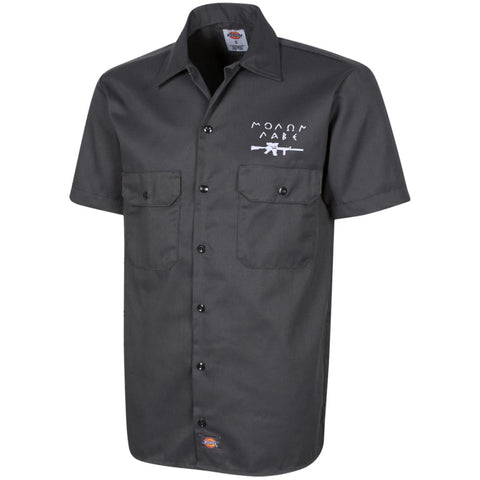 Molon Labe with Rifle. White. Dickies Men's Short Sleeve Workshirt. (Embroidered)