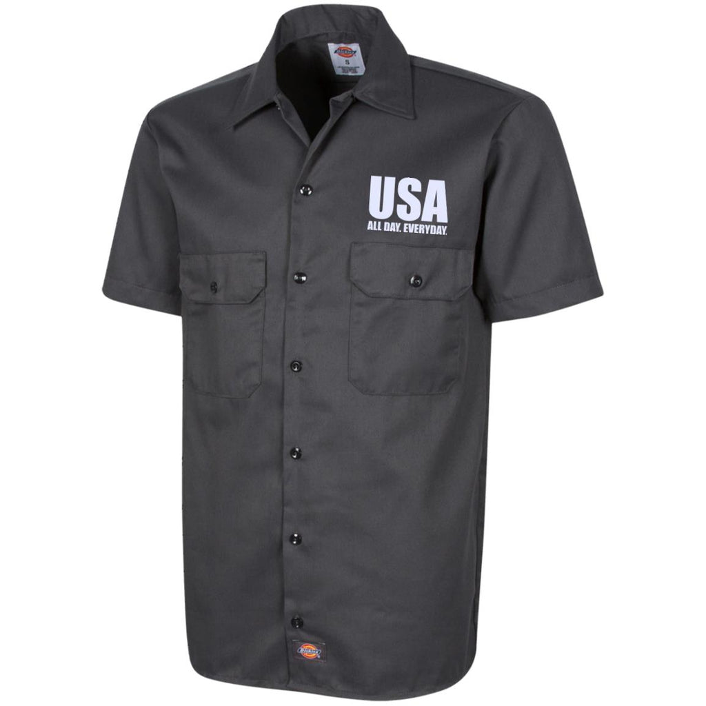 USA. All Day. Everyday. White Text. Dickies Men's Short Sleeve Workshirt. (Embroidered)-1