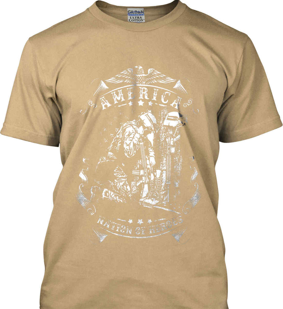 America A Nation of Heroes. Kneeling Soldier. White Print. Gildan Ultra Cotton T-Shirt.-12