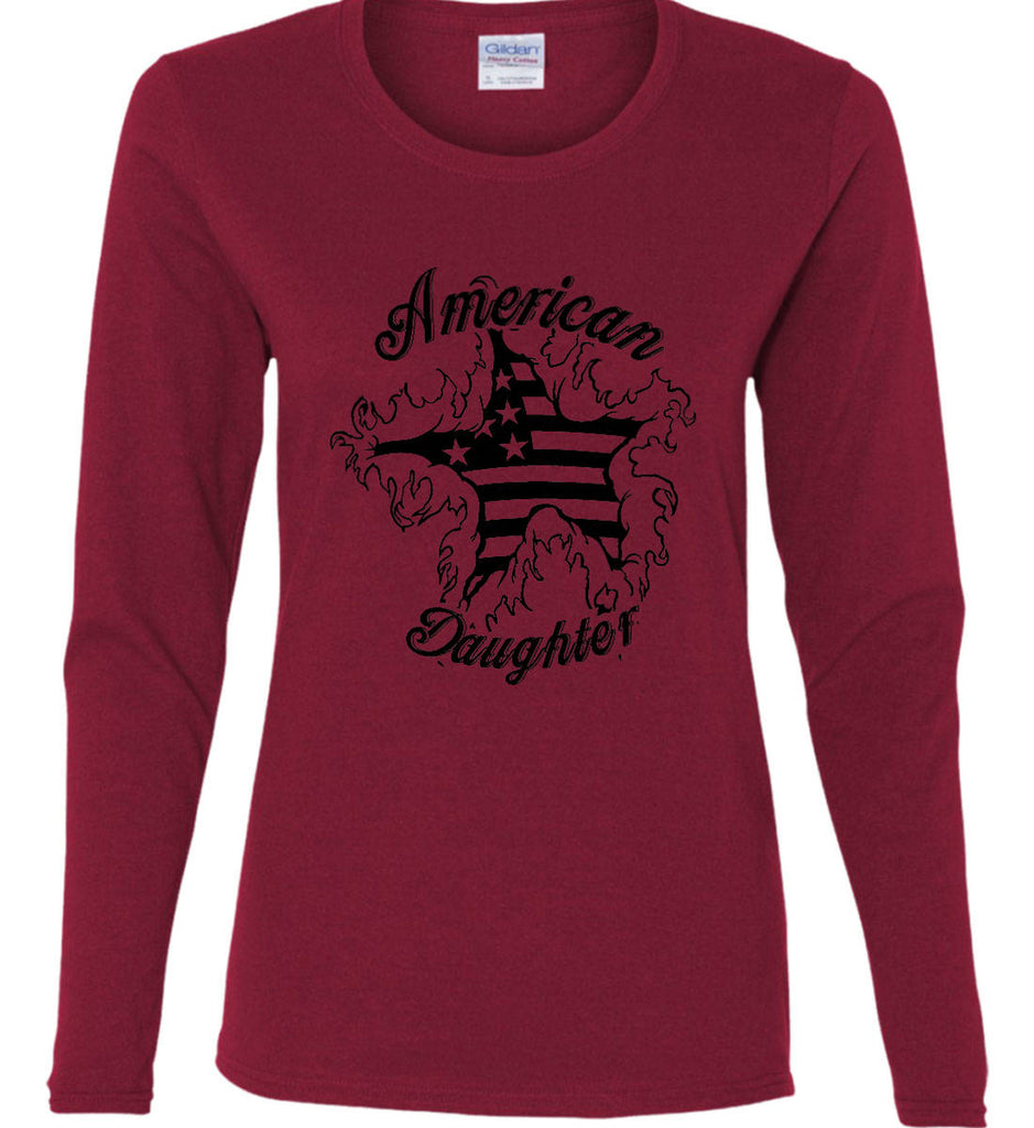 American Daughter. Women's Patriot Design. Women's: Gildan Ladies Cotton Long Sleeve Shirt.-7