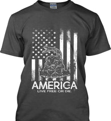 America. Live Free or Die. Don't Tread on Me. White Print. Gildan Ultra Cotton T-Shirt.