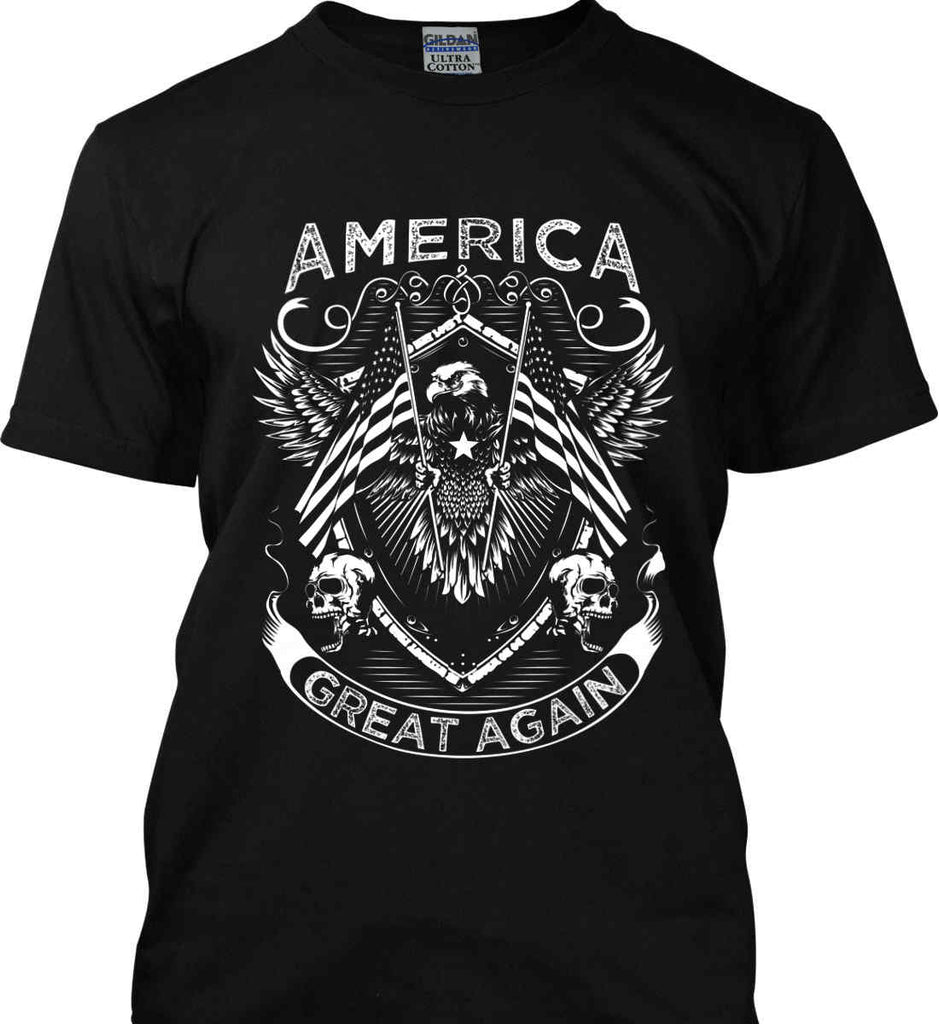 America. Great Again. White Print. Gildan Ultra Cotton T-Shirt.-2