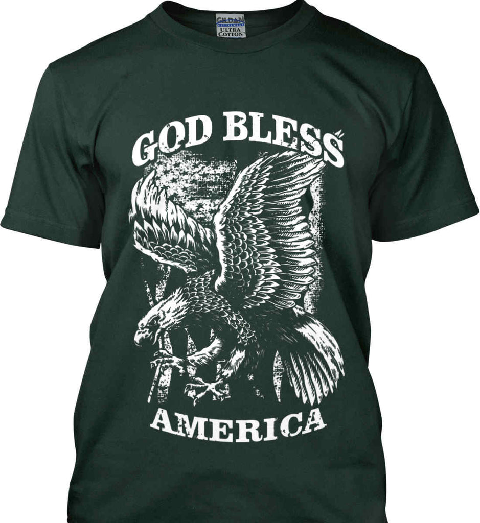 God Bless America. Eagle on Flag. White Print. Gildan Ultra Cotton T-Shirt.-6