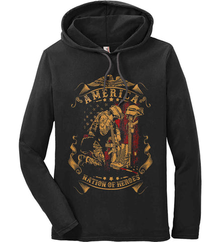 America A Nation of Heroes. Kneeling Soldier. Anvil Long Sleeve T-Shirt Hoodie.