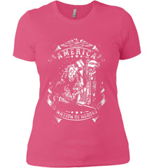 America A Nation of Heroes. Kneeling Soldier. White Print. Women's: Next Level Ladies' Boyfriend (Girly) T-Shirt.