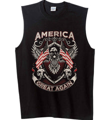 America. Great Again. Gildan Men's Ultra Cotton Sleeveless T-Shirt.
