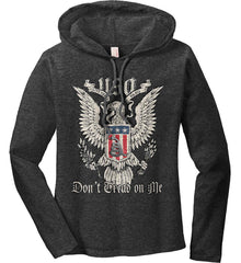 Don't Tread on Me. Eagle with Shield and Rattlesnake. Women's: Anvil Ladies' Long Sleeve T-Shirt Hoodie.
