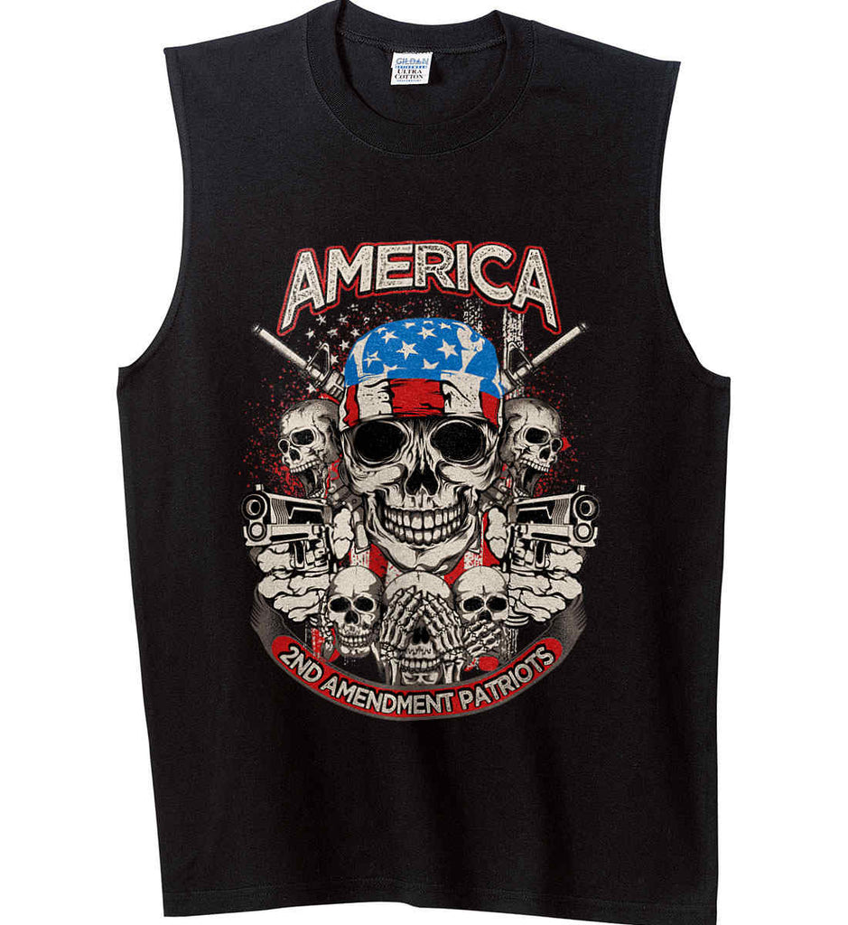 America. 2nd Amendment Patriots. Gildan Men's Ultra Cotton Sleeveless T-Shirt.-1