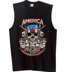 America. 2nd Amendment Patriots. Gildan Men's Ultra Cotton Sleeveless T-Shirt.