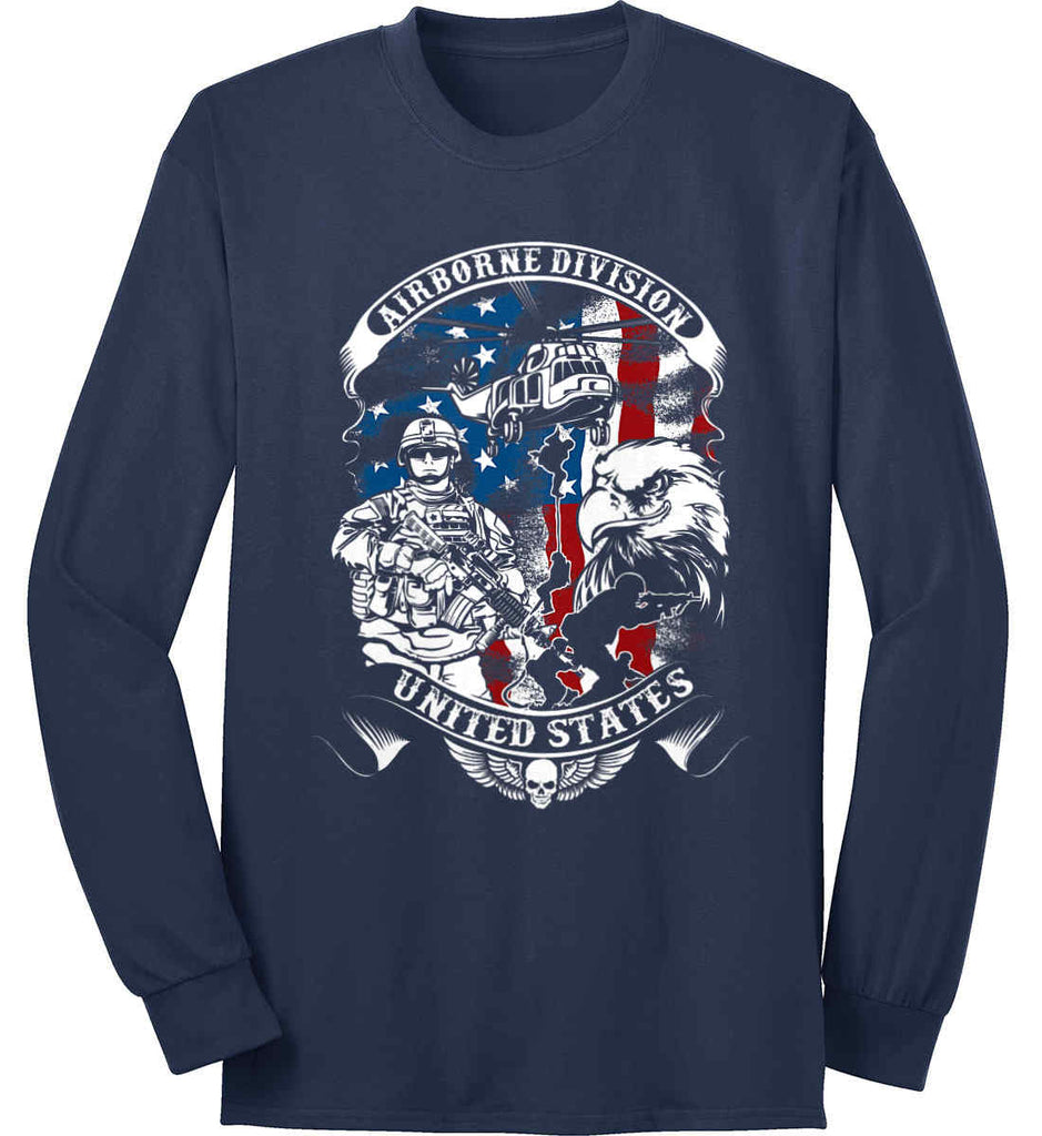 Airborne Division. United States. Port & Co. Long Sleeve Shirt. Made in the USA..-2