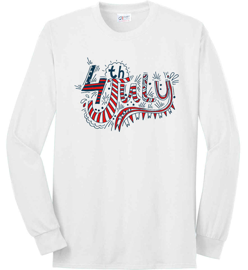 July 4th Red, White and Blue. Port & Co. Long Sleeve Shirt. Made in the USA..-1