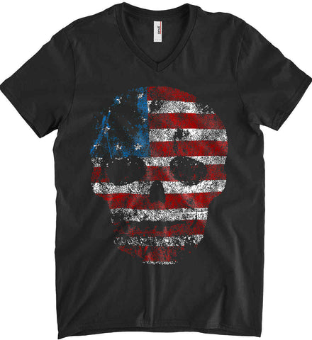 American Skull. Red, White and Blue. Anvil Men's Printed V-Neck T-Shirt.
