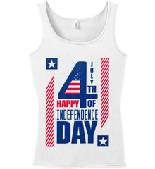 4th of July with Stars and Stripes. Women's: Anvil Ladies' 100% Ringspun Cotton Tank Top.