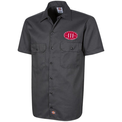 Three Percent. Live Free. Red with White Text. Dickies Men's Short Sleeve Workshirt. (Embroidered)