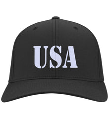 USA Patriot Hat Port Authority Flex Fit Twill Baseball Cap. (Embroidered)