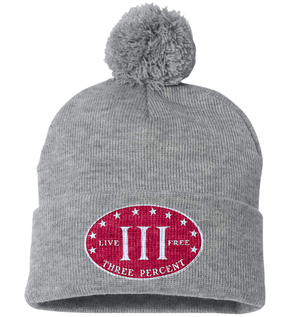 Three Percenter. Live Free. Hat. Sportsman Pom Pom Knit Cap. (Embroidered)-9