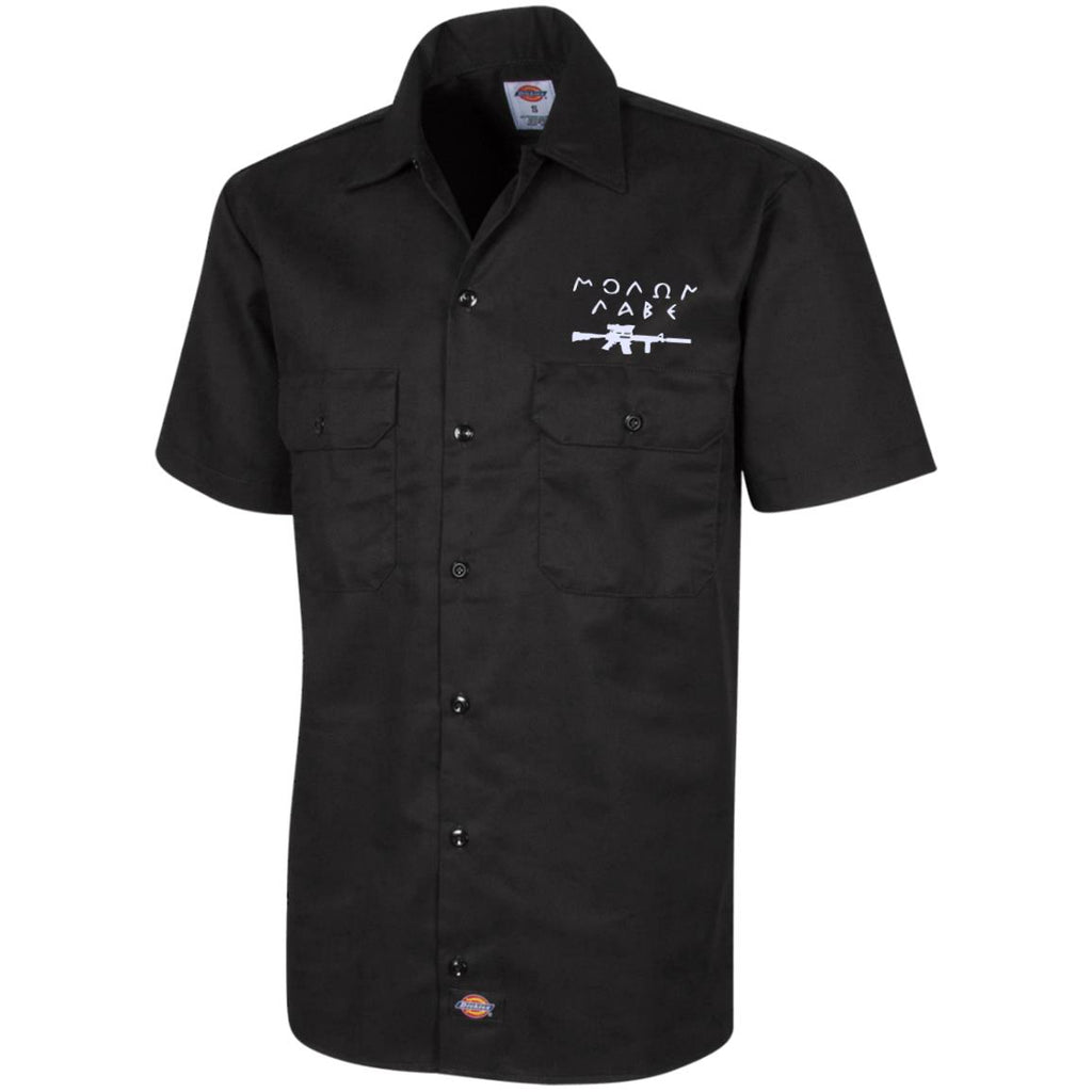 Molon Labe with Rifle. White. Dickies Men's Short Sleeve Workshirt. (Embroidered)-2