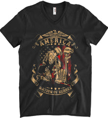America A Nation of Heroes. Kneeling Soldier. Anvil Men's Printed V-Neck T-Shirt.