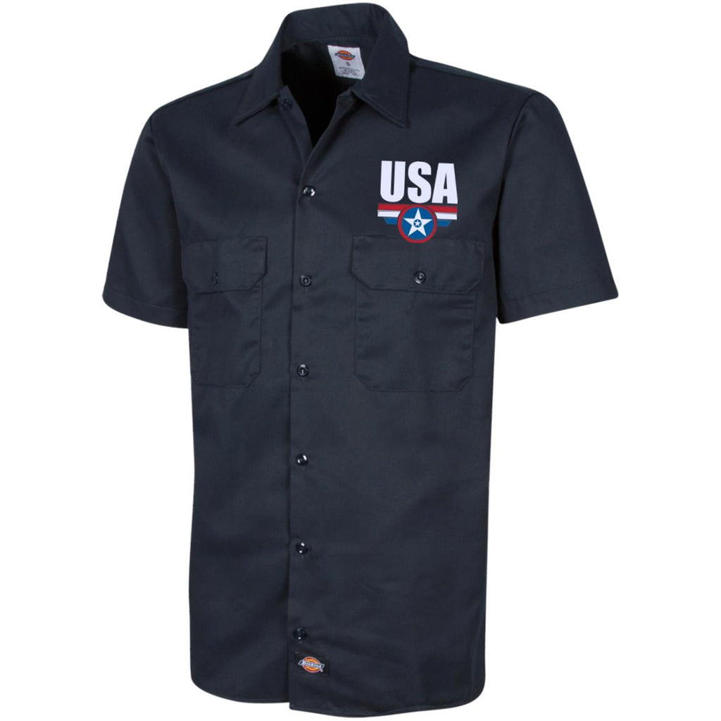 USA. Star-Shield. Red, White, Blue. Dickies Men's Short Sleeve Workshirt. (Embroidered)-3
