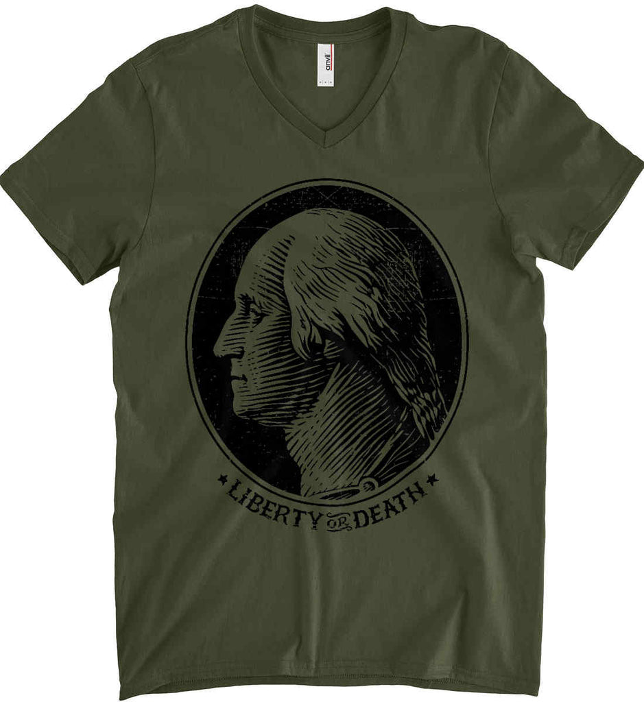 George Washington Liberty or Death. Black Print Anvil Men's Printed V-Neck T-Shirt.-5