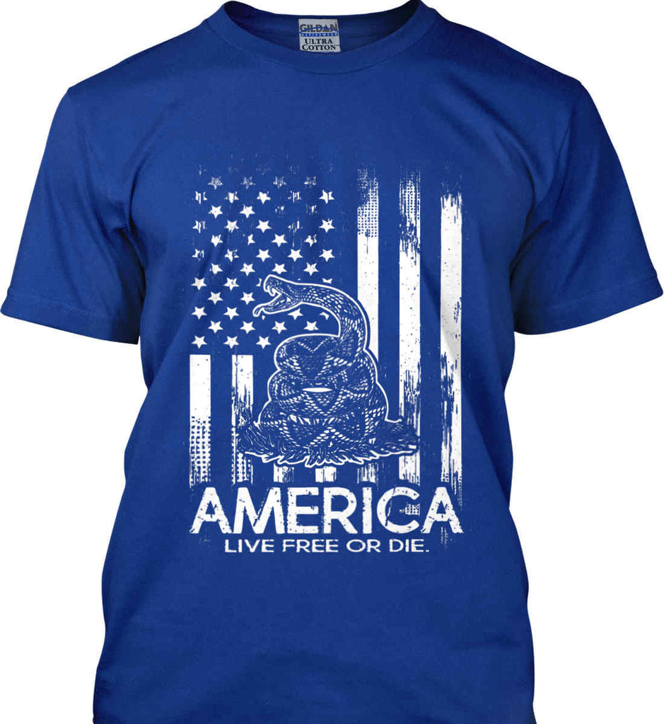 America. Live Free or Die. Don't Tread on Me. White Print. Gildan Ultra Cotton T-Shirt.-7