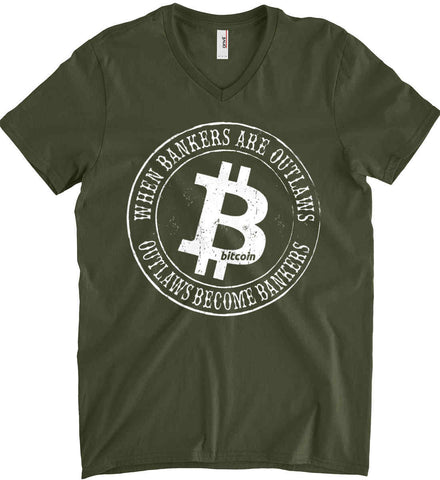 Bitcoin: When bankers are outlaws, outlaws become bankers. Anvil Men's Printed V-Neck T-Shirt.