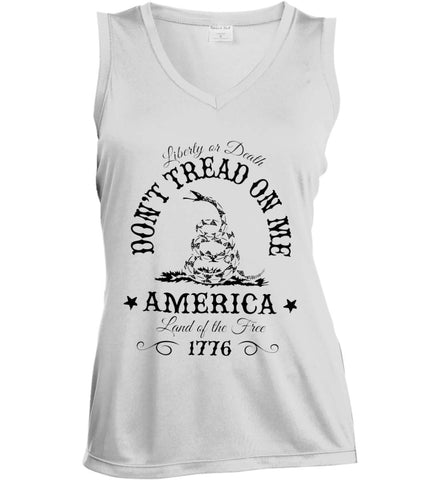 Don't Tread on Me. Liberty or Death. Land of the Free. Black Print. Women's: Sport-Tek Ladies' Sleeveless Moisture Absorbing V-Neck.