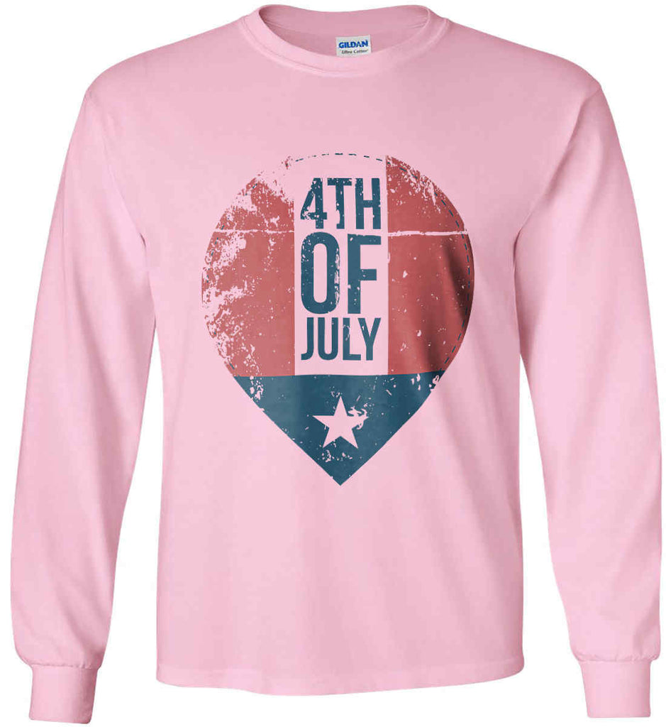 4th of July with Star. Gildan Ultra Cotton Long Sleeve Shirt.-6