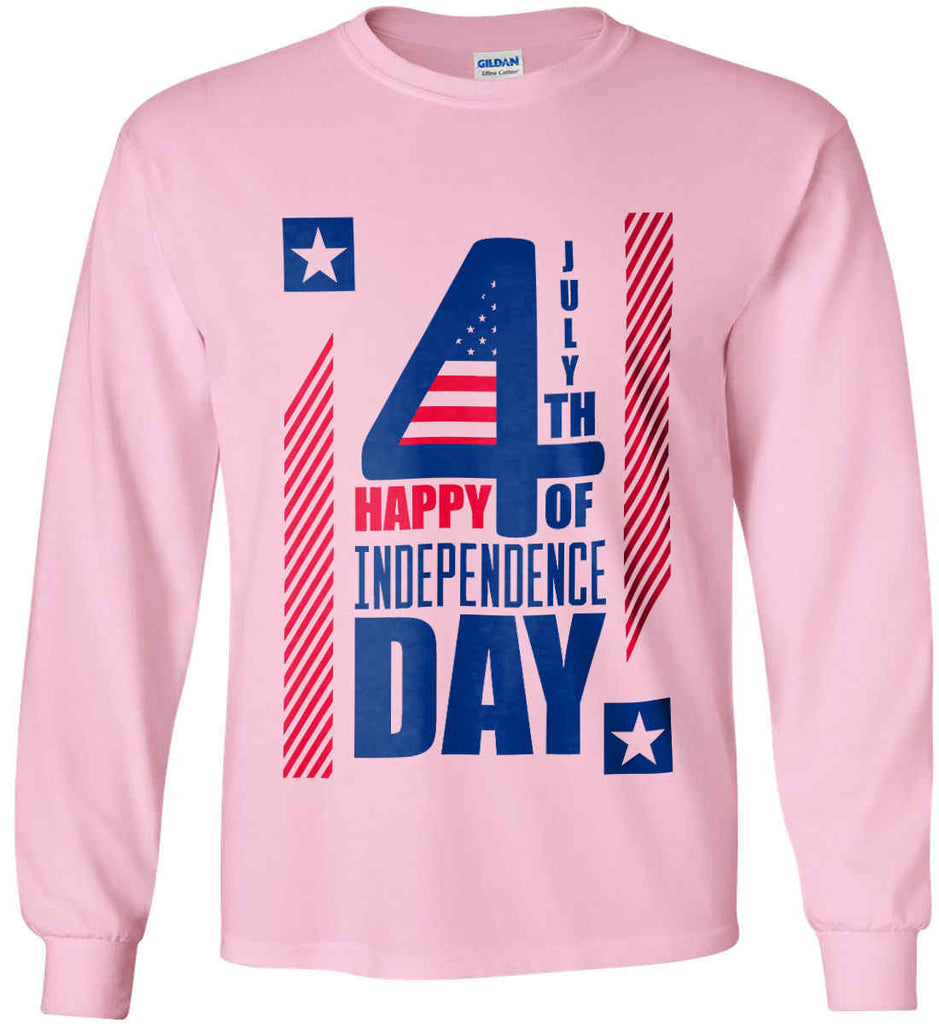 4th of July with Stars and Stripes. Gildan Ultra Cotton Long Sleeve Shirt.-6