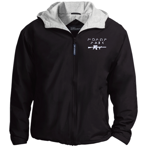Molon Labe with Rifle. White. Port Authority Team Jacket. (Embroidered)