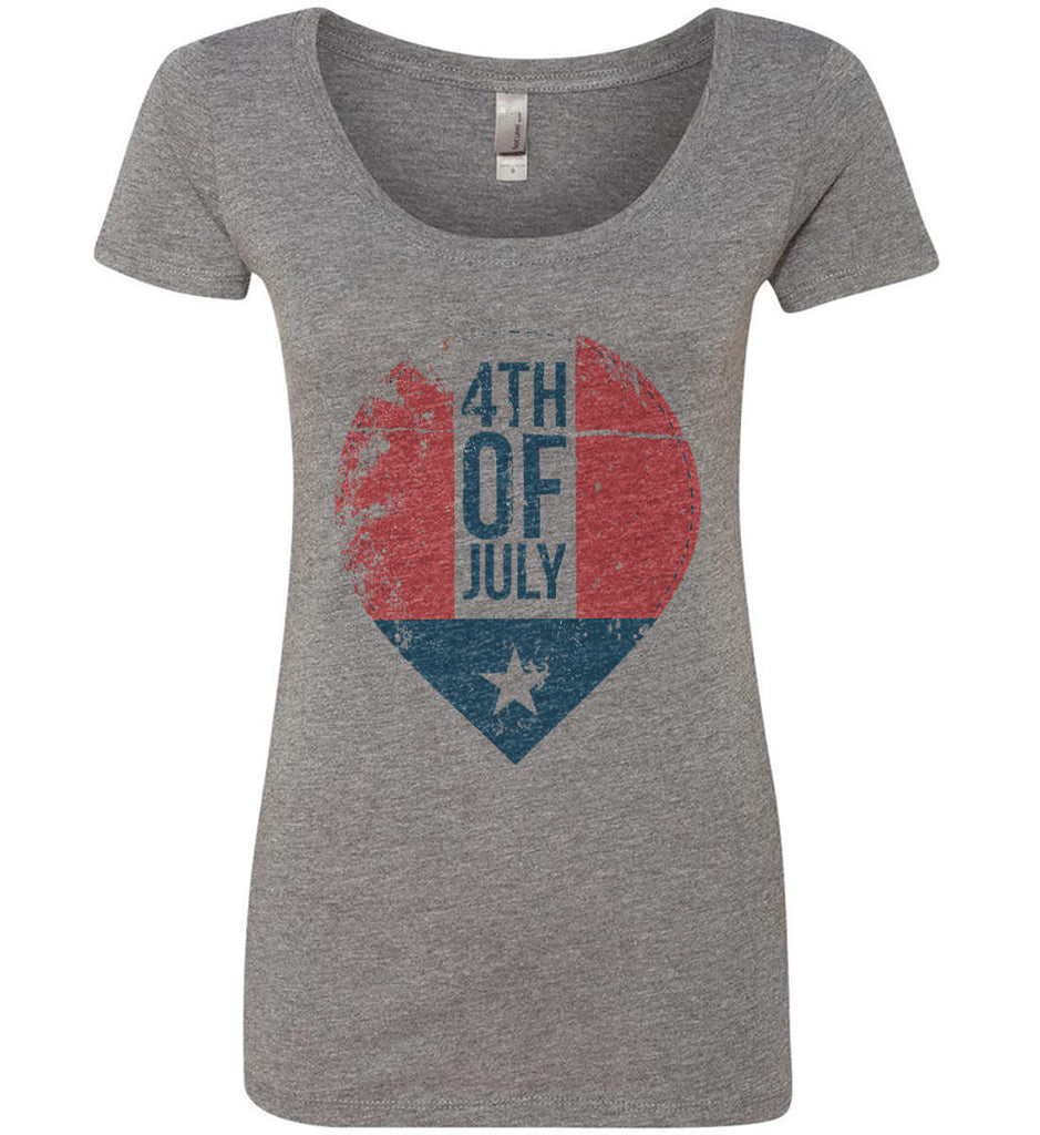4th of July with Star. Women's: Next Level Ladies' Triblend Scoop.-2