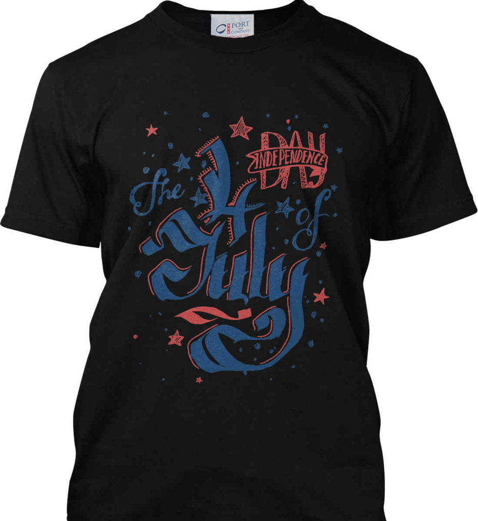 The 4th of July. Ribbon Script. Port & Co. Made in the USA T-Shirt.-2