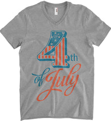4th of July. Faded Grunge. Anvil Men's Printed V-Neck T-Shirt.