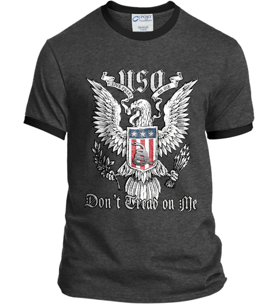 Don't Tread on Me. Eagle with Shield and Rattlesnake. Port and Company Ringer Tee.-5