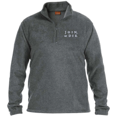 Join Or Die. White Text. Harriton 1/4 Zip Fleece Pullover. (Embroidered)