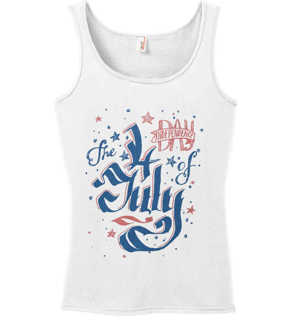 The 4th of July. Ribbon Script. Women's: Anvil Ladies' 100% Ringspun Cotton Tank Top.-2