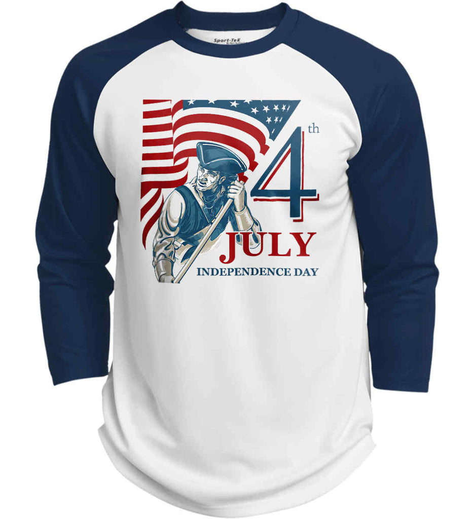 Patriot Flag. July 4th. Independence Day. Sport-Tek Polyester Game Baseball Jersey.-7
