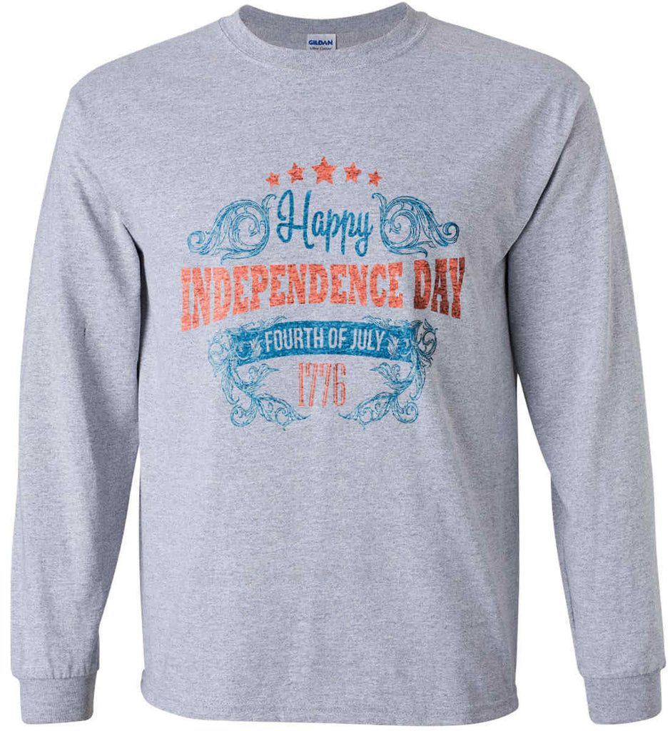 Happy Independence Day. Fourth of July. 1776. Gildan Ultra Cotton Long Sleeve Shirt.-2
