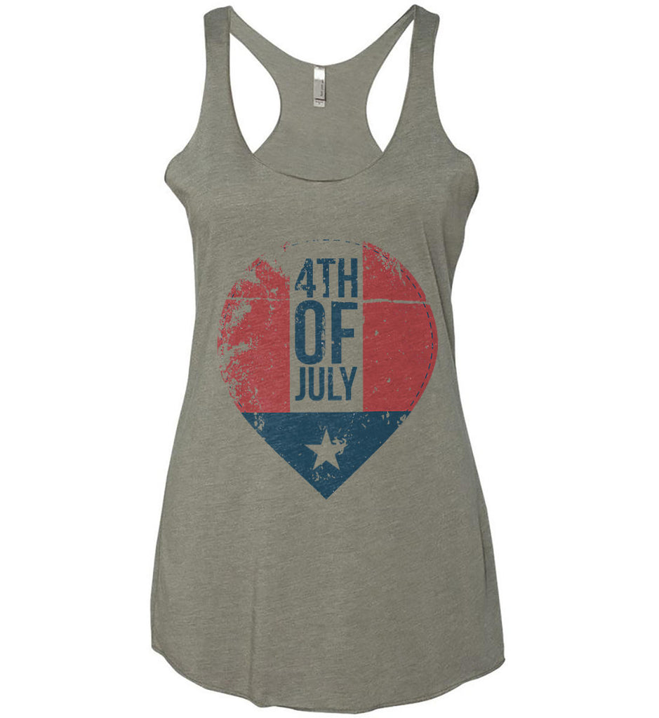 4th of July with Star. Women's: Next Level Ladies Ideal Racerback Tank.-3