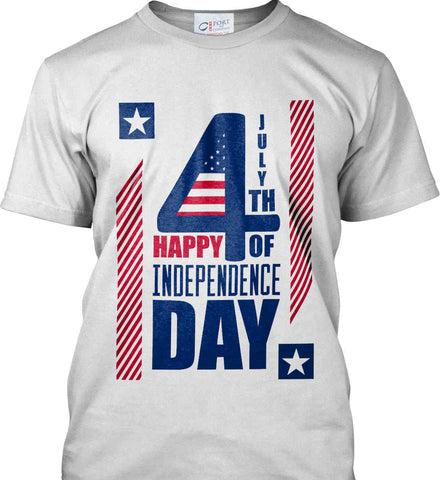 4th of July with Stars and Stripes. Port & Co. Made in the USA T-Shirt.