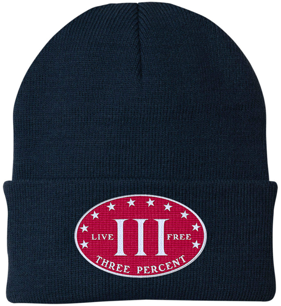 Three Percenter. Live Free. Hat. Port Authority Knit Cap. (Embroidered)-5